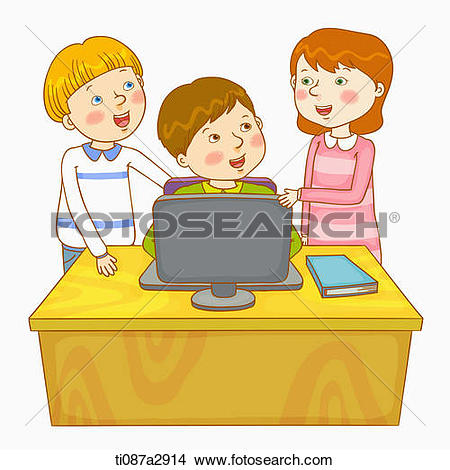 Children in a computer clipart graphic freeuse stock Drawings of an illustration of children on the computer ti087a2914 ... graphic freeuse stock