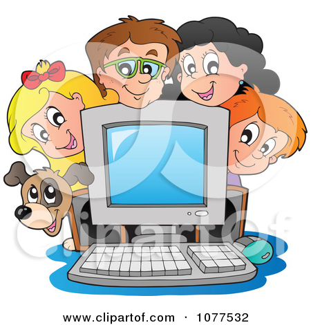 Children in a computer clipart clipart black and white stock Clipart Outlined Dog And School Children Around A Computer ... clipart black and white stock