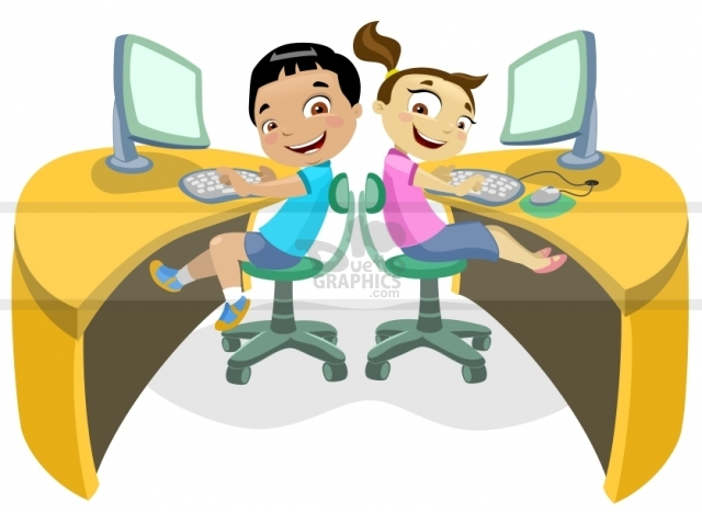 Children in a computer clipart image royalty free Children in a computer clipart - ClipartFest image royalty free