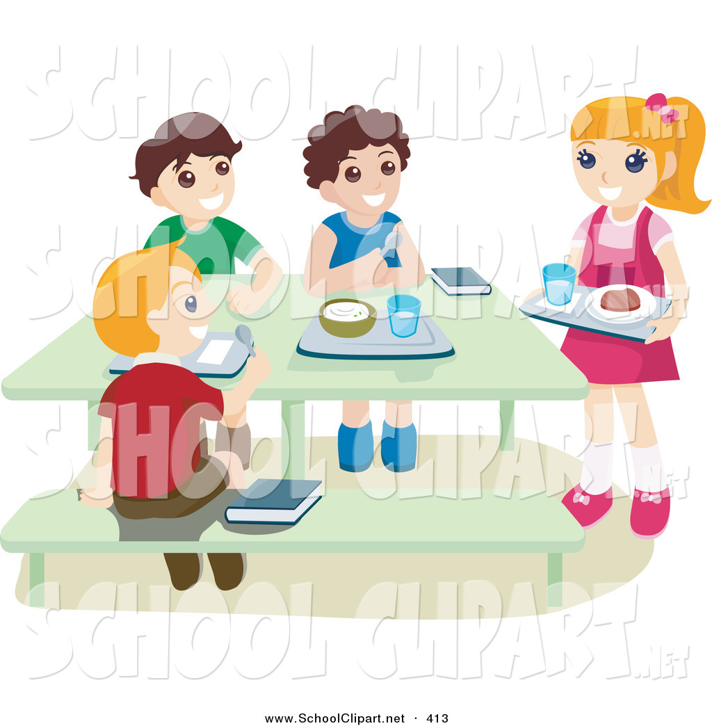Children in cafeteria clipart png download Clip Art of a School Children Eating Hot Lunches in a Cafeteria on ... png download