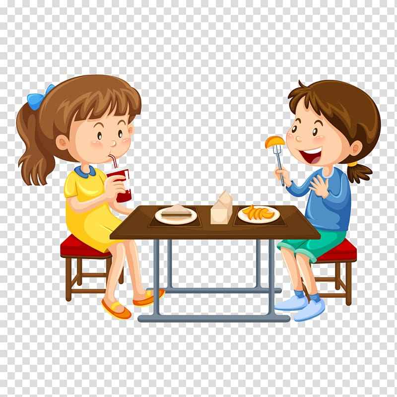 Children in cafeteria clipart banner free library Two girl eating illustration, Cafeteria , eat breakfast transparent ... banner free library