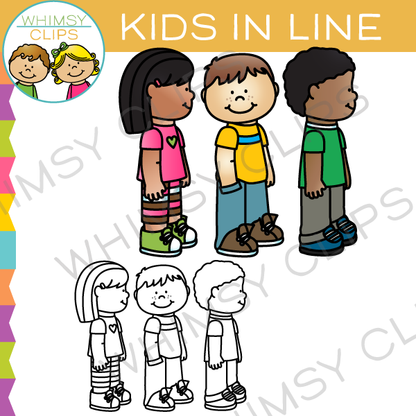 Children in line clipart png black and white stock School Kids in Line Clip Art black and white stock