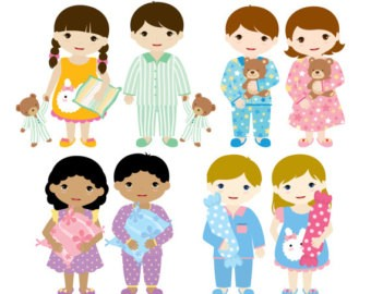 Children in pajamas clipart svg black and white stock Pajama Clipart | Clipart svg black and white stock