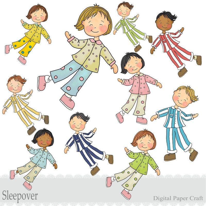 Kids pajama clipart image freeuse stock Childrens Sleepover Clipart - Boys and Girls - Instant Download ... image freeuse stock