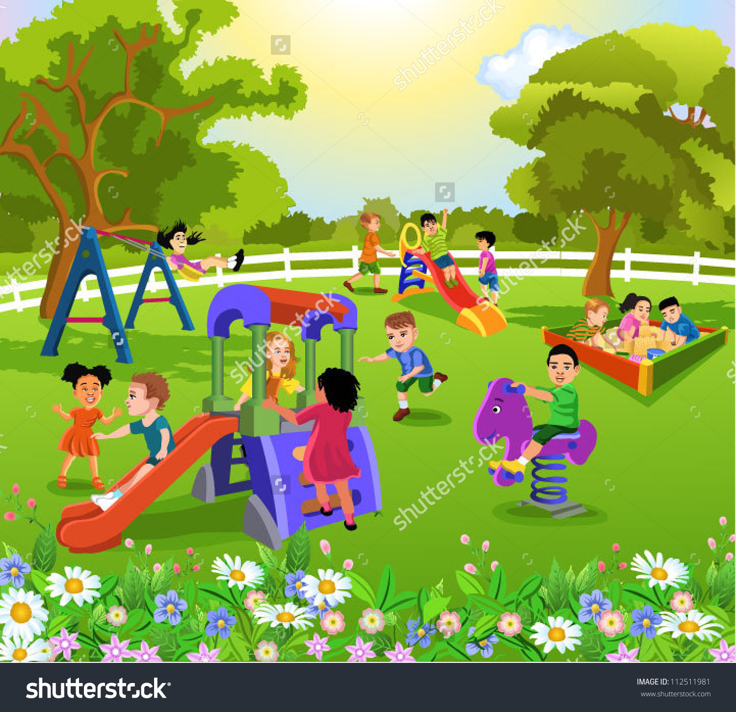 Kids at the park clipart vector free stock Children park clipart 7 » Clipart Station vector free stock
