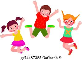 Kids jumping clipart banner transparent stock Children Jumping Clip Art - Royalty Free - GoGraph banner transparent stock