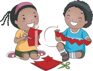 Children making art clipart image library library Two Kids Making Paper Hearts - Royalty Free Clipart Picture image library library