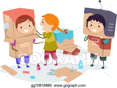 Children making art clipart freeuse library Vector Art - Kids making robot cartons. EPS clipart gg70816880 - GoGraph freeuse library
