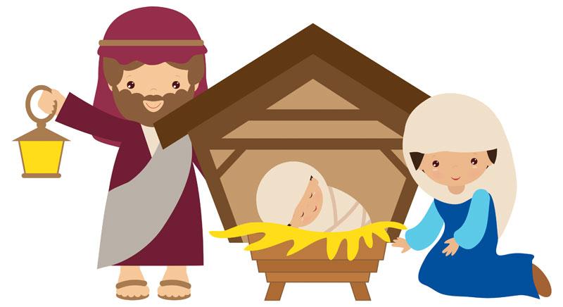Children manger scene clipart banner black and white download Children\'s Nativity Scene banner black and white download
