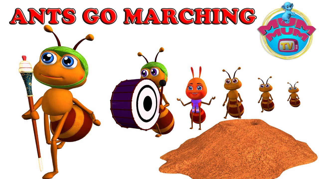 Children marching clipart svg black and white stock The Ants Go Marching Song with Lyrics - Nursery Rhymes For Kids, Children  Songs | Mum Mum TV svg black and white stock