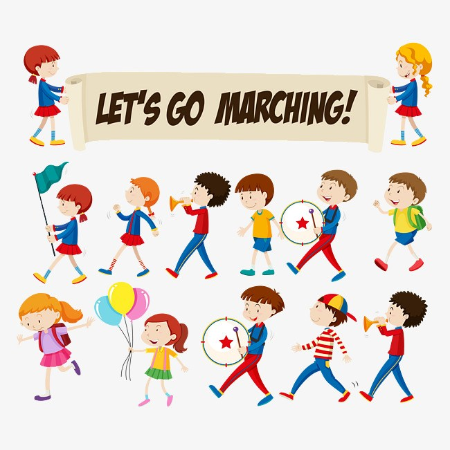 Children marching clipart banner black and white stock Children marching clipart 9 » Clipart Portal banner black and white stock