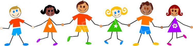 Children of all typs holding hands clipart