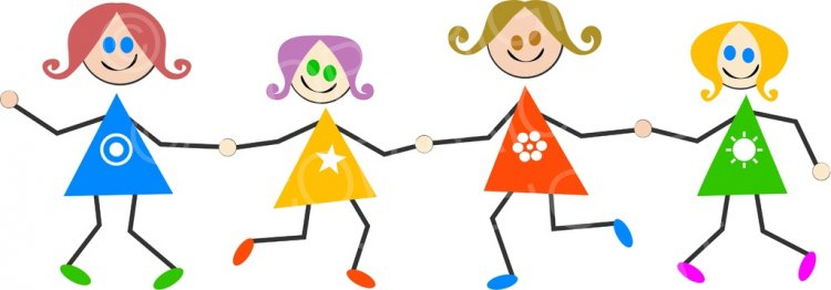 Children of all typs holding hands clipart jpg black and white Happy Girls Holding Hands Stick Kids Prawny Clip Art – Prawny ... jpg black and white