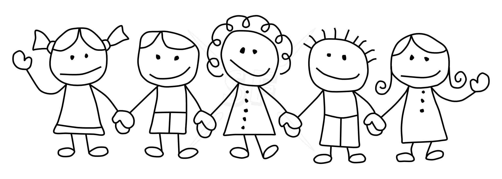 Kids being nice to each other clipart black students library Children Holding Hands Black And White Clipart – Kind Of Letters ... library