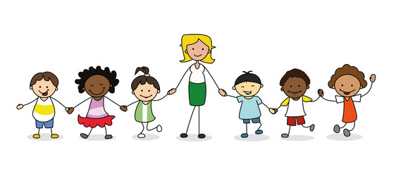 Children of all types holding hands clipart svg kindergarten group of children with female teacher holding hands ... svg