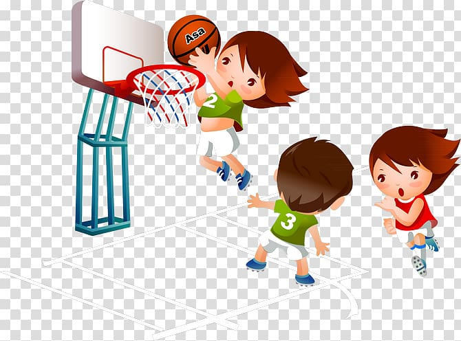 Children playing ball clipart png black and white download People playing basketball illustration, Basketball Cartoon Sport ... png black and white download