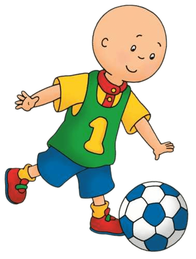 Football players pushing clipart clip art black and white download Caillou Playing Football transparent PNG - StickPNG clip art black and white download