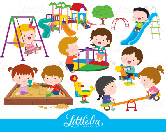 Preschool playground clipart vector black and white Kids playground - playground clipart - 17005 | alfabet | Clip art ... vector black and white