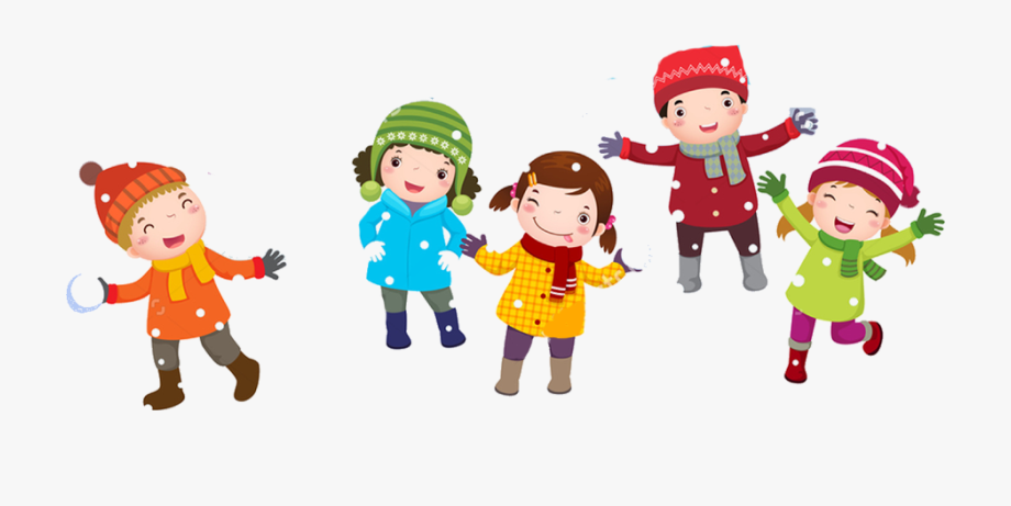 Kids playing in snow clipart