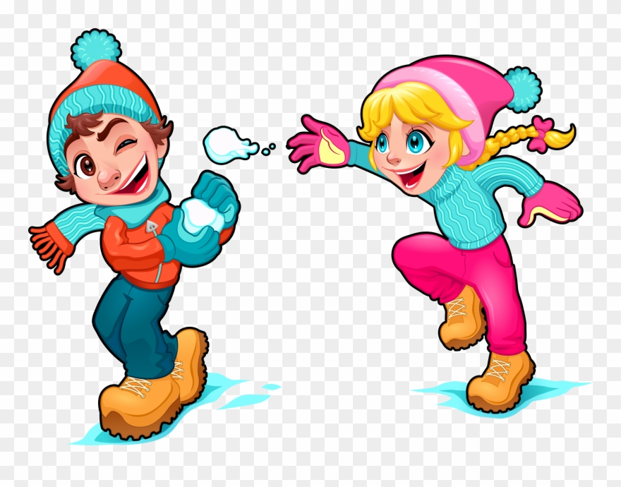 Cartoon Snow Play Illustration - Kids Playing In The Snow Cartoon ... jpg free