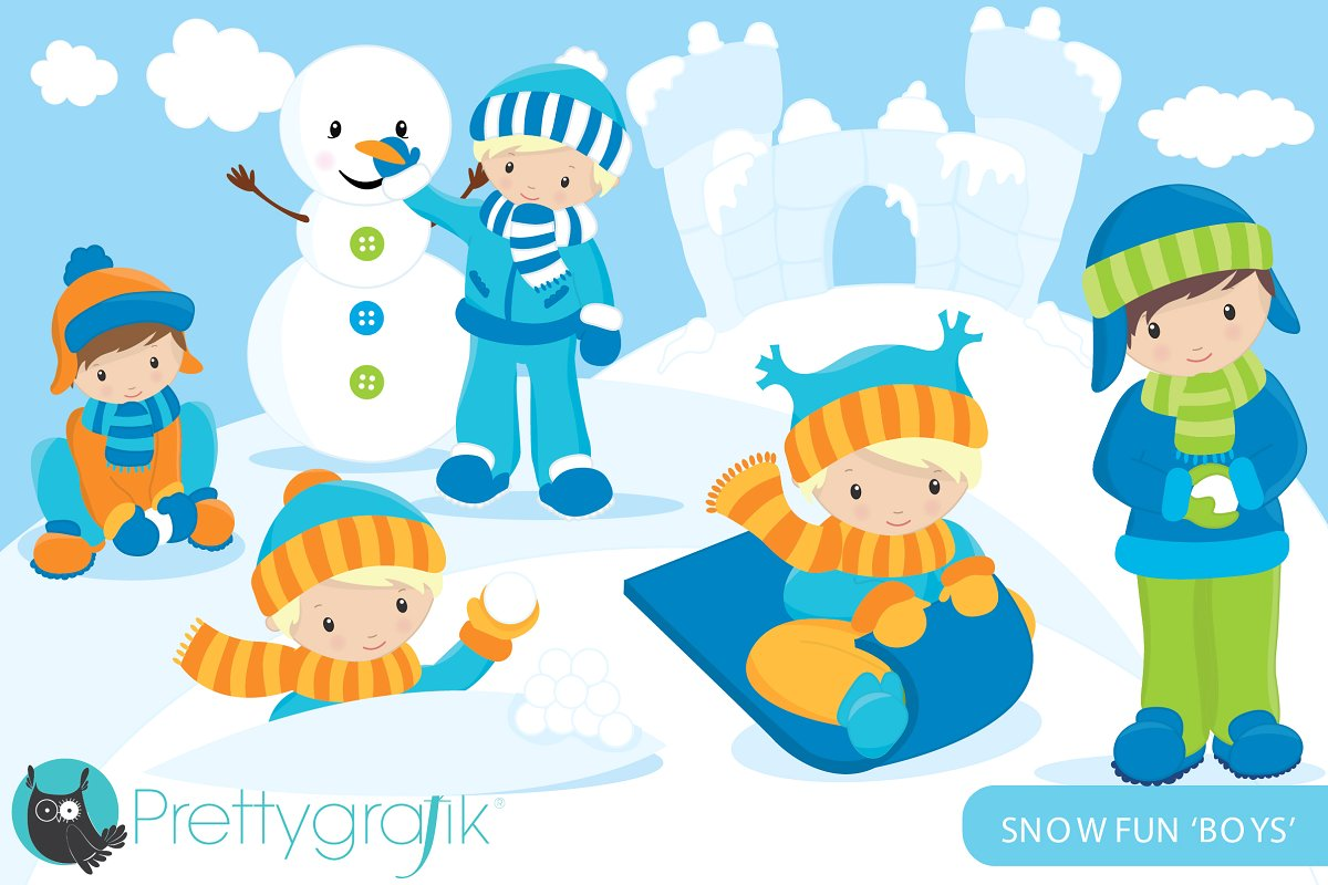 Children playing in snow clipart banner free Snow boys clipart commercial banner free