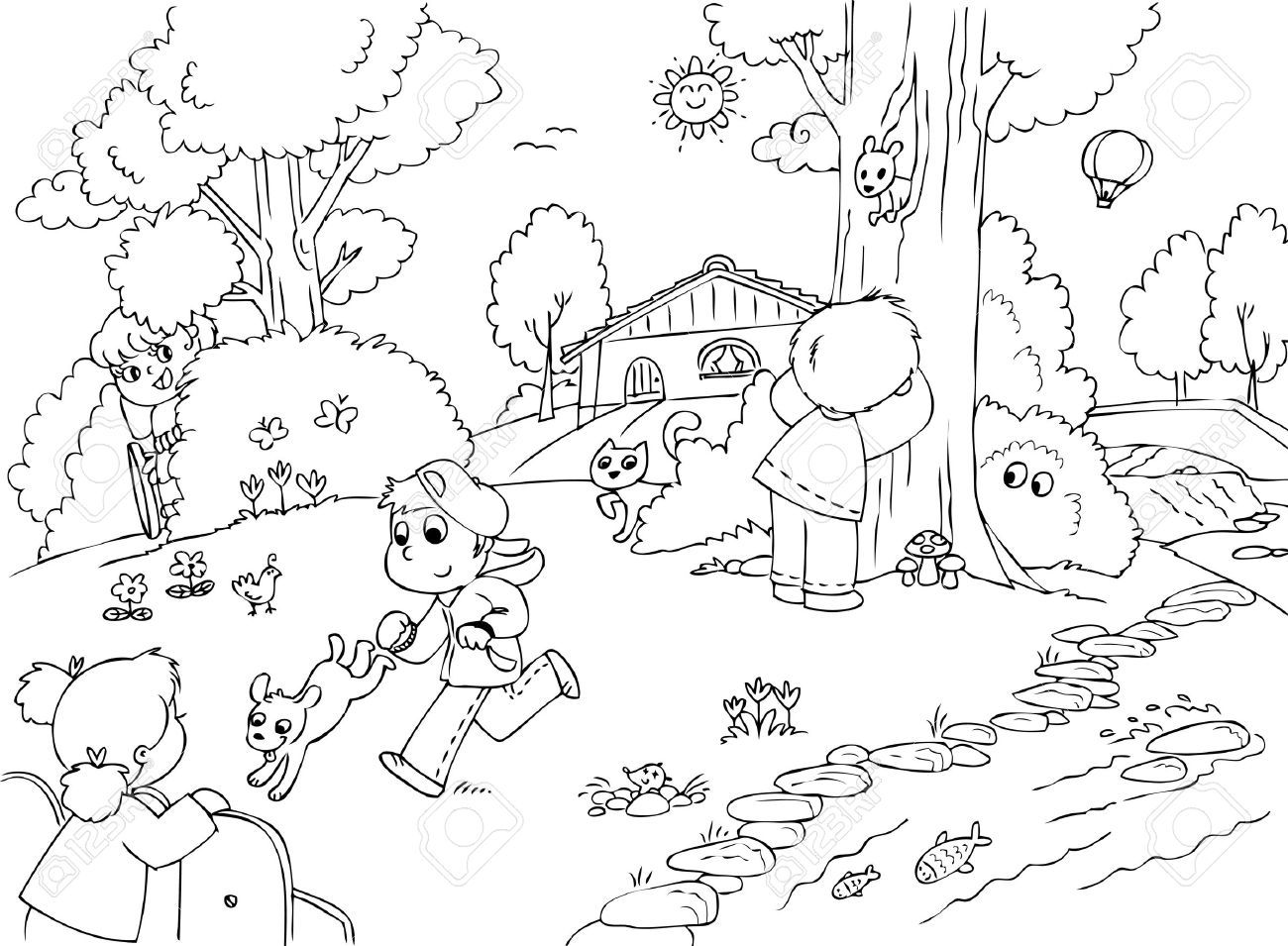 Children playing in the park clipart black and white vector freeuse download Children playing in the park clipart black and white 5 » Clipart Portal vector freeuse download