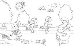 Children playing in the park clipart black and white jpg free stock Children Playing Games Park Stock Illustrations – 138 Children ... jpg free stock
