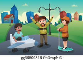 Children playing outside by the street clipart graphic library download Kids Playing Outside Clip Art - Royalty Free - GoGraph graphic library download