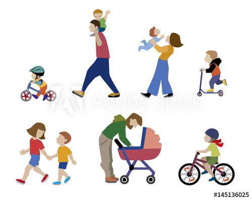 Children playing outside by the street clipart clip art download A vector illustration of families, adults, children and baby in ... clip art download