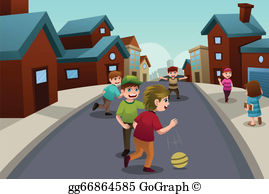 Children playing outside by the street clipart clip free Kids Playing Outside Clip Art - Royalty Free - GoGraph clip free