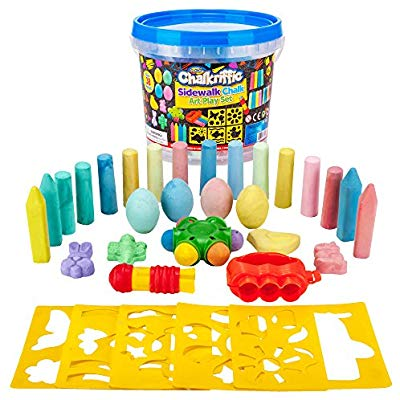 Children playing with bubbles and sidewalk chalk clipart clipart freeuse download Creative Kids Premium Sidewalk Chalk Art Play Set - Bucket Bundle of Chalk  & Educational Game Accessories for Boys & Girls - Includes 30Piece of ... clipart freeuse download