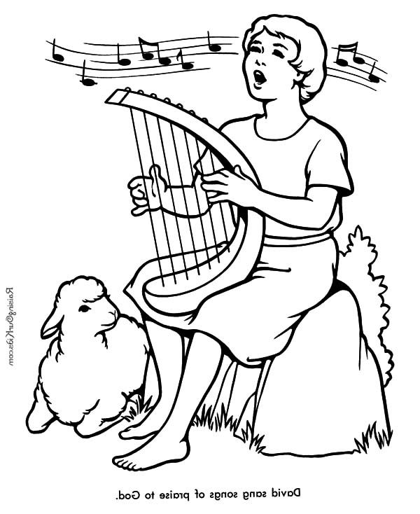 Children praising the lord clipart coloring page vector freeuse stock David The Shepherd Boy, : David the Shepherd Boy Sing a Song Praise ... vector freeuse stock