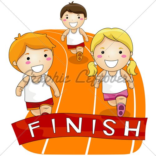 Little kids finish line caricature free clipart graphic freeuse running girl clipart for free | Children Running In A Race With ... graphic freeuse