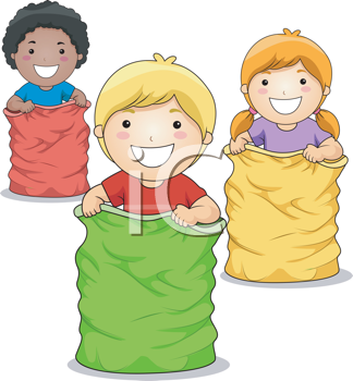 Children racing clipart vector freeuse library Royalty Free Clipart Image of a Group of Children in a Sack Race | j ... vector freeuse library