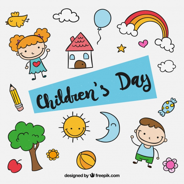 Children s clipart collection full download image freeuse download Childrens day design with kids elements Vector | Free Download image freeuse download