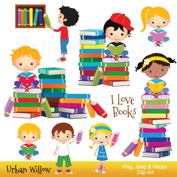Children s library clipart vector library Clip art school kids, Clip art Books, Reading Clipart, Cute Library ... vector library