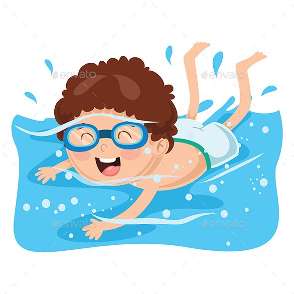 Free printable kids swimming clipart without flotation. Vector illustration of kid