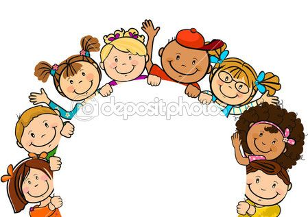 Children together clipart picture library stock Children together with paper round | Cliparts | Preschool pictures ... picture library stock