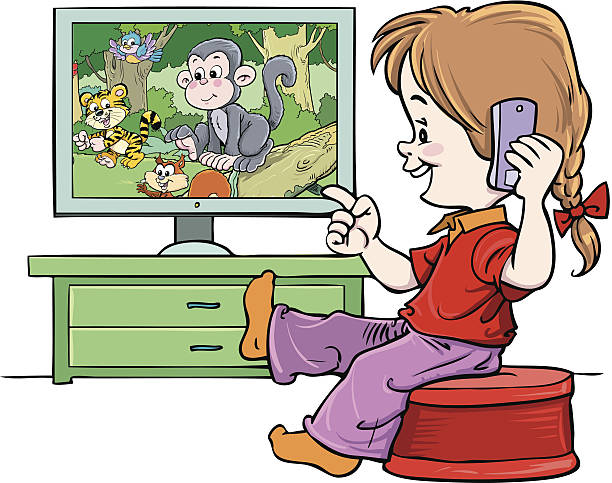 Watching clipart kid jpg black and white stock Watching tv tv clipart child watch pencil and in color tv - ClipartPost jpg black and white stock