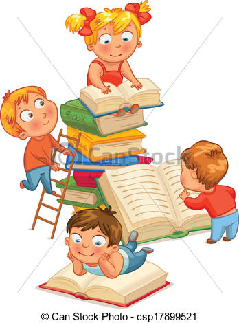 Children with books clipart image stock kids reading clipart children s books clipart can stock ... image stock