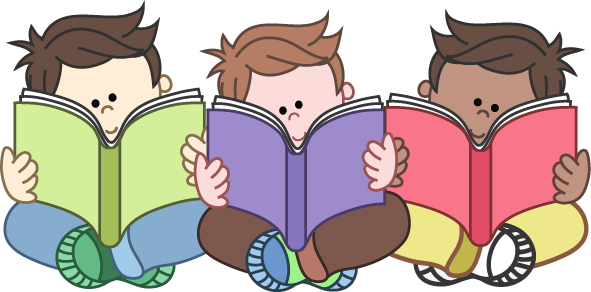 Reading clipartfest boys group. Children with books clipart