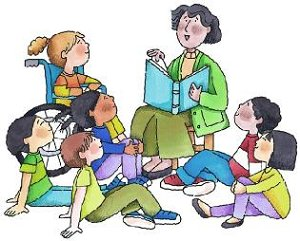 Free clip art reading. Children with books clipart