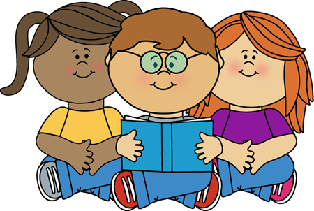 Kids reading clipartfest a. Children with books clipart