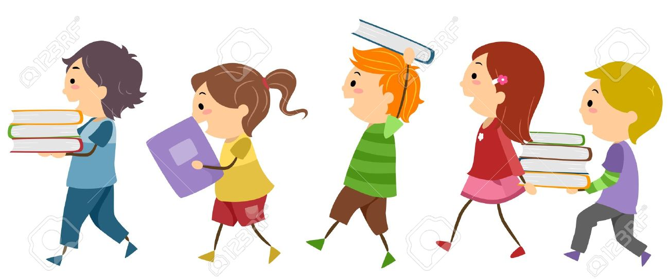 Clipartfest kids carrying. Children with books clipart