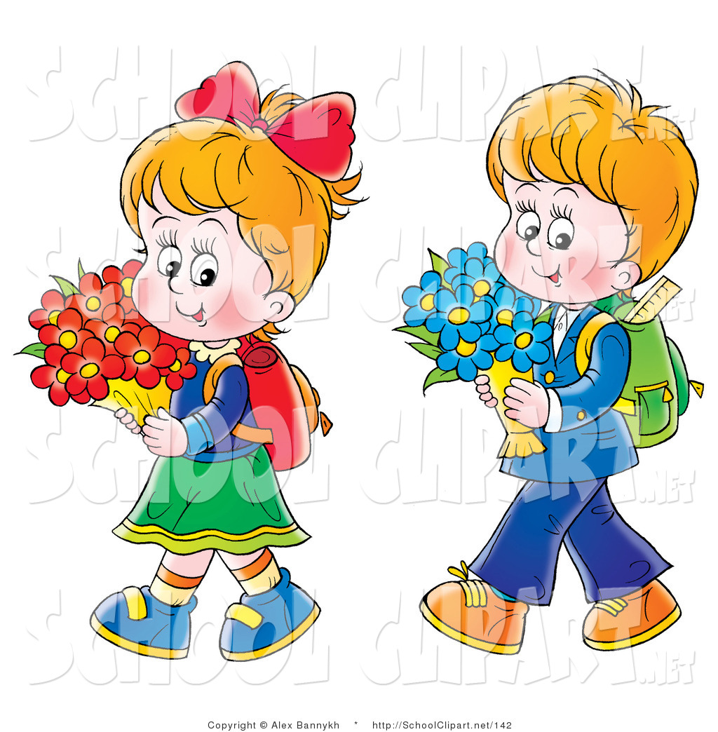 Boy and girl walking clipart picture black and white Clip Art of a Little Twin Boy and Girl Walking Home from School with ... picture black and white