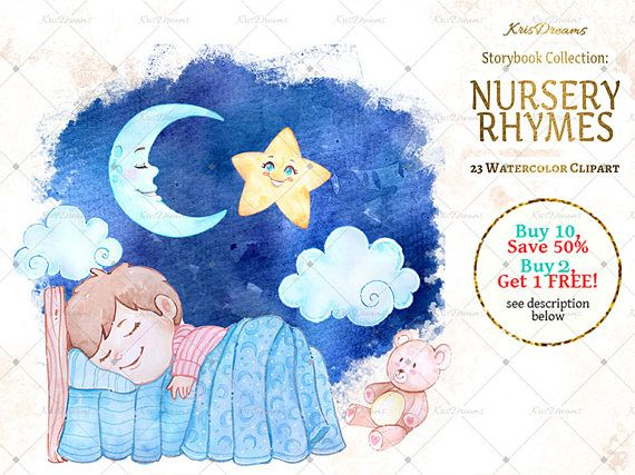 Children-s books watercolor clipart banner black and white Nursery Rhyme Clip Art Watercolor Clip Art Children\'s Book ... banner black and white