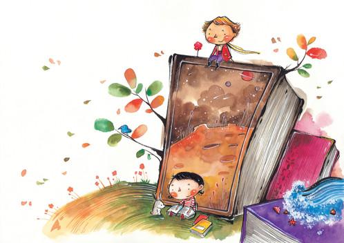 Children-s books watercolor clipart image black and white Debbie D\'Aurelio image black and white