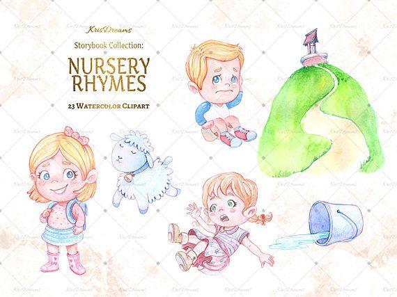 Children-s books watercolor clipart clip library Nursery Rhyme Clip Art Watercolor Clip Art Children\'s Book ... clip library