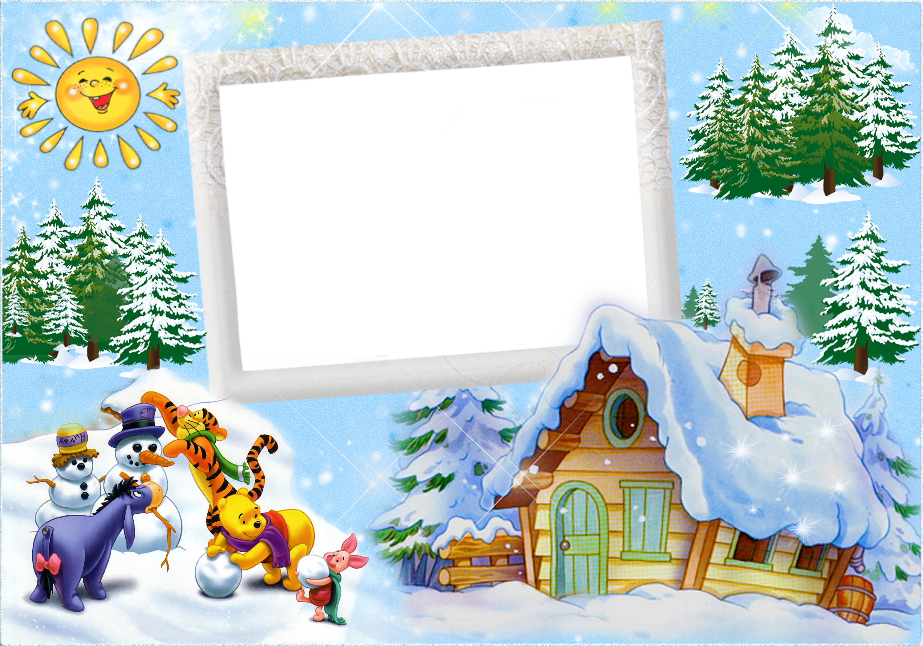 Children's christmas clipart free graphic free stock Christmas Kids Winter Frame with Winnie the Pooh and Friends and ... graphic free stock