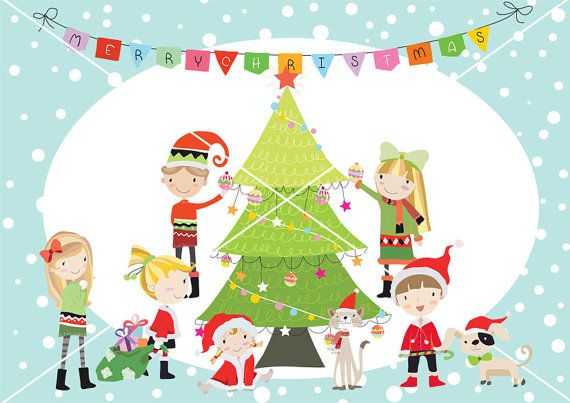 Clipart childern chrisrmas jpg black and white Christmas party Christmas children christmas Clipart by HandMek ... jpg black and white
